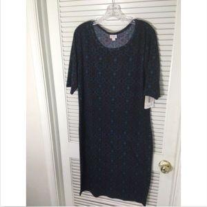 LULAROE Julia Dress  3XL Plus Size Aztec Blue Navy